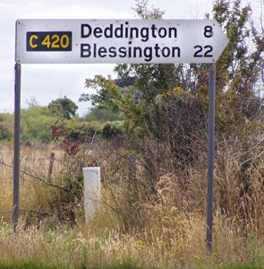 Signpost to Deddington in Tasmania